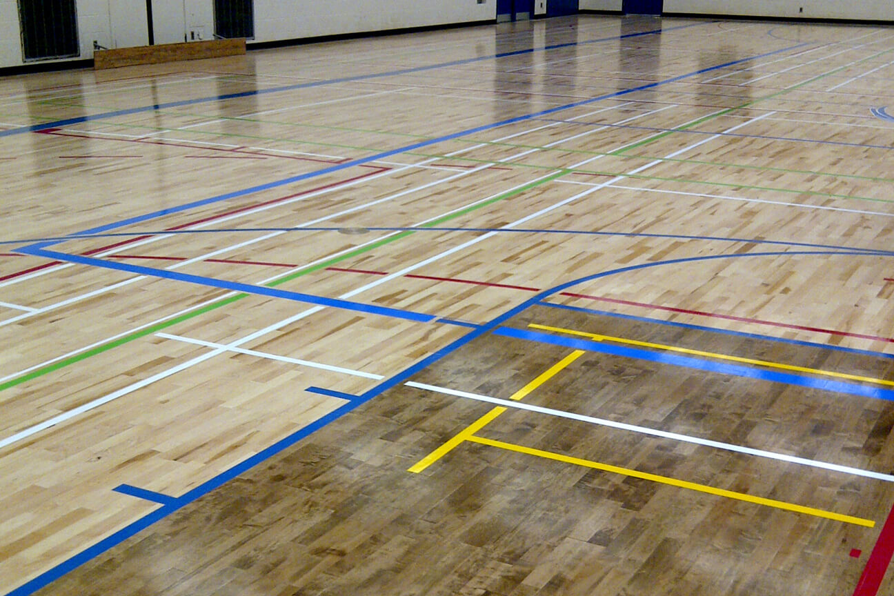 Gymnasium flooring Action hardwood at Port Credit Secondary School (Mississauga, Ontario)