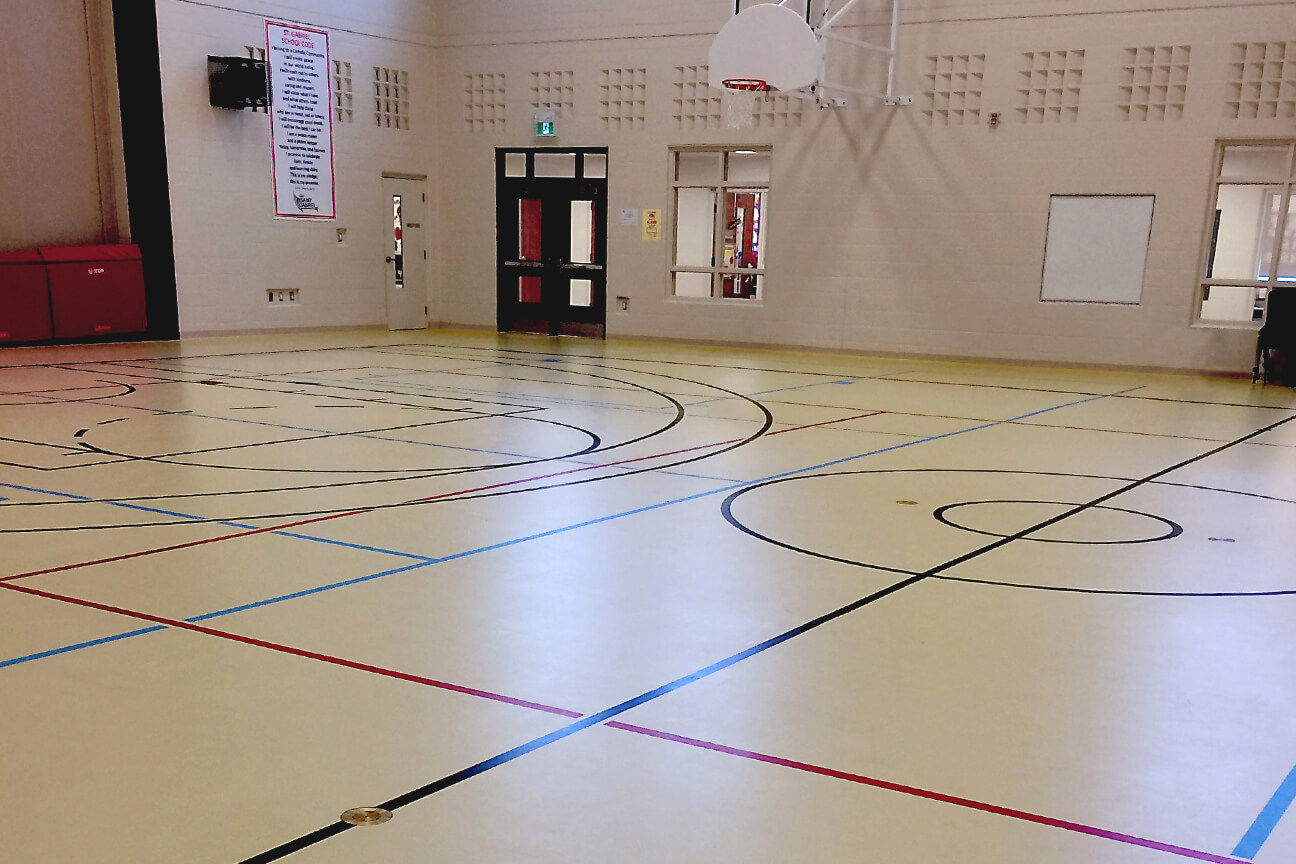 Gymnasium flooring poured polyurethane at St. Gabriel Elementary School (Stoney Creek, Ontario)