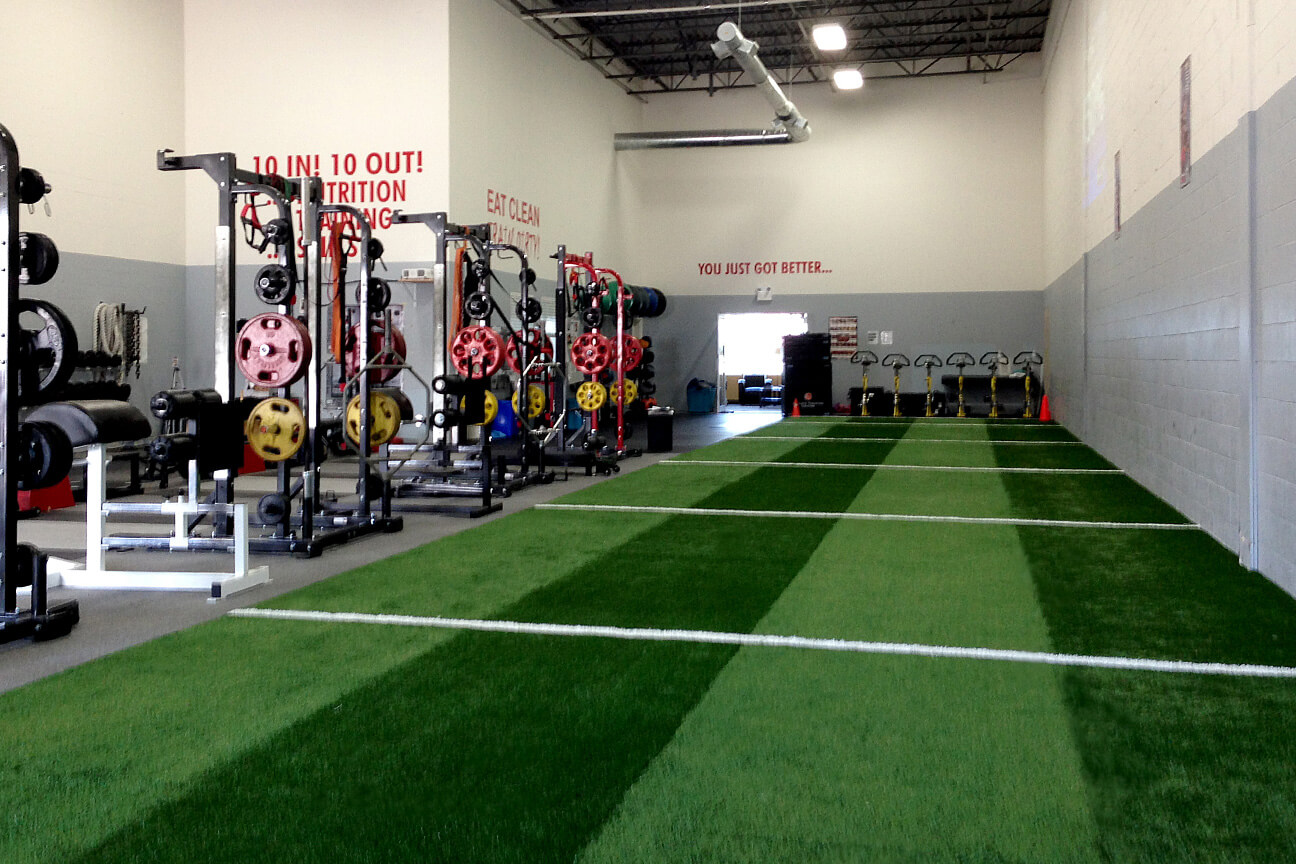 Gym synthetic turf TurfLink TL60 surface at Athlete Training Centre (Mississauga, Ontario)